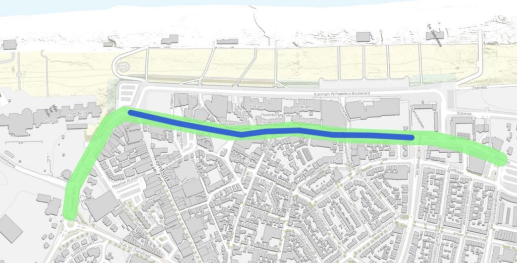 Plattegrond Noordwijk aan Zee met locatie drain