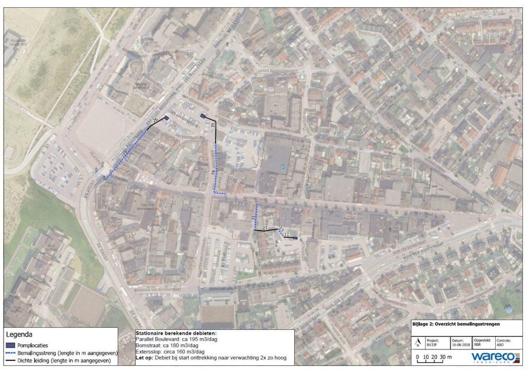 Plattegrond met locaties pompen in Noordwijk aan Zee