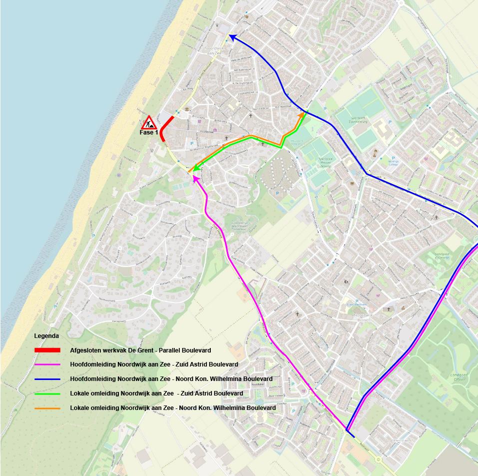 kaartje Noordwijk met omleidingsroutes